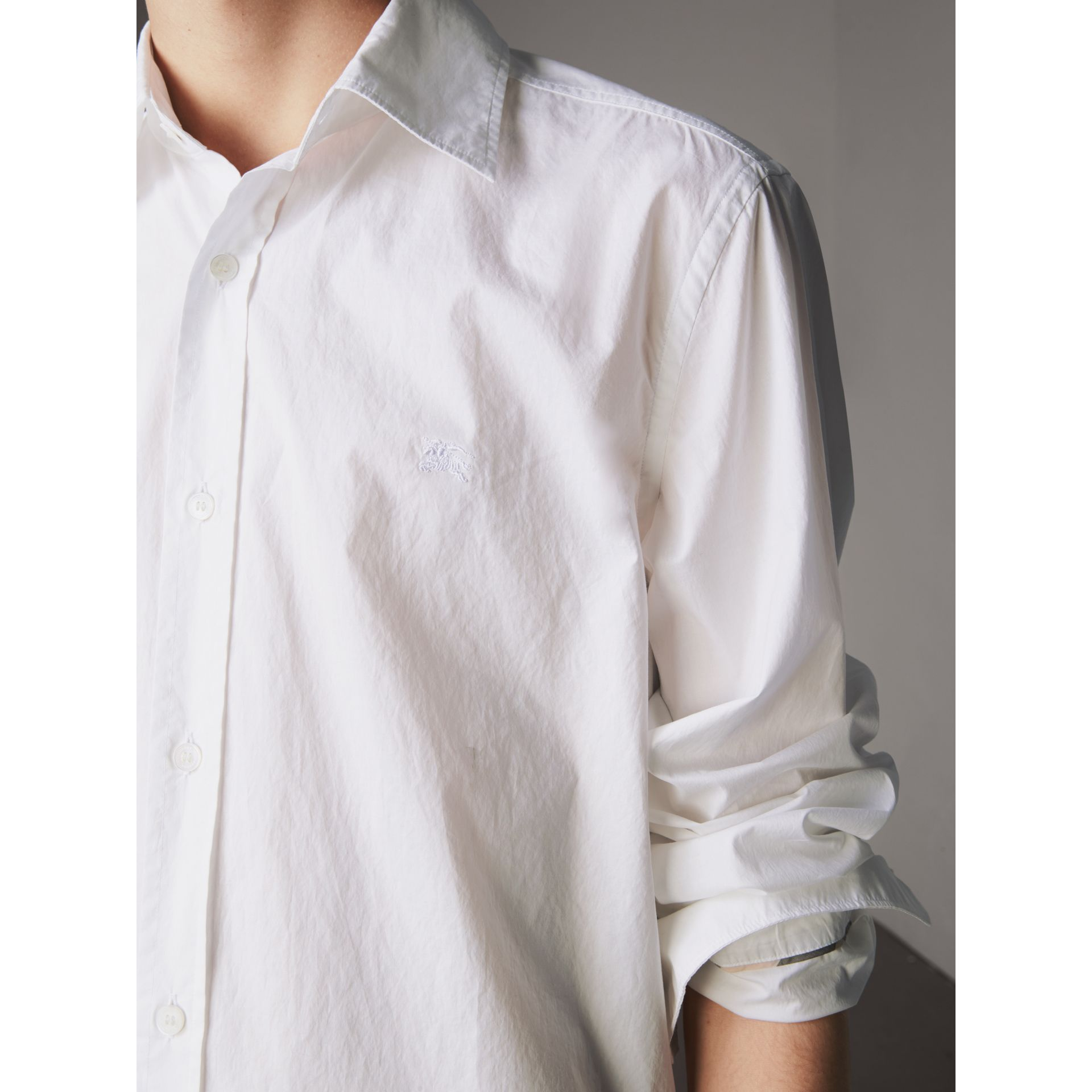 Japanese Cotton Poplin Shirt in White - Men | Burberry - gallery image 1