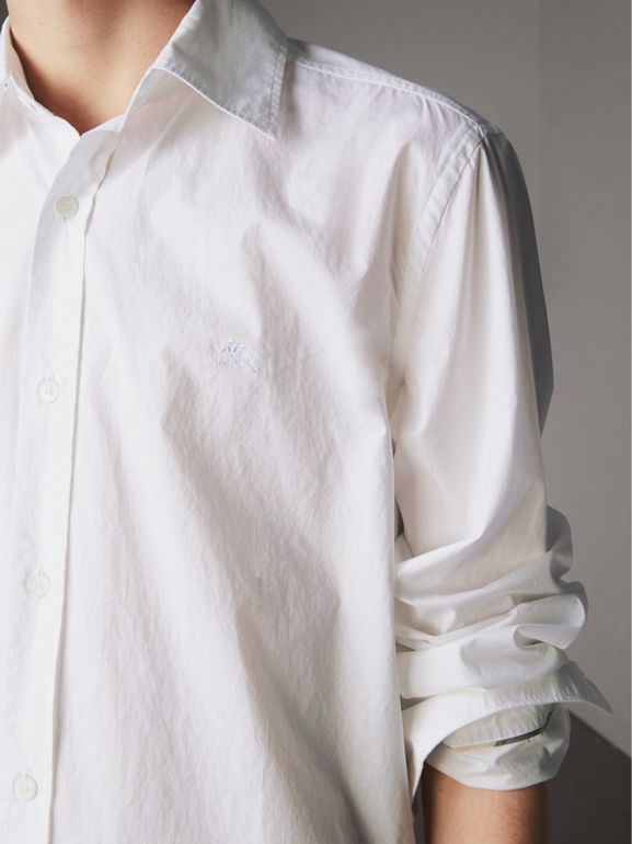 Japanese Cotton Poplin Shirt in White - Men | Burberry - cell image 1