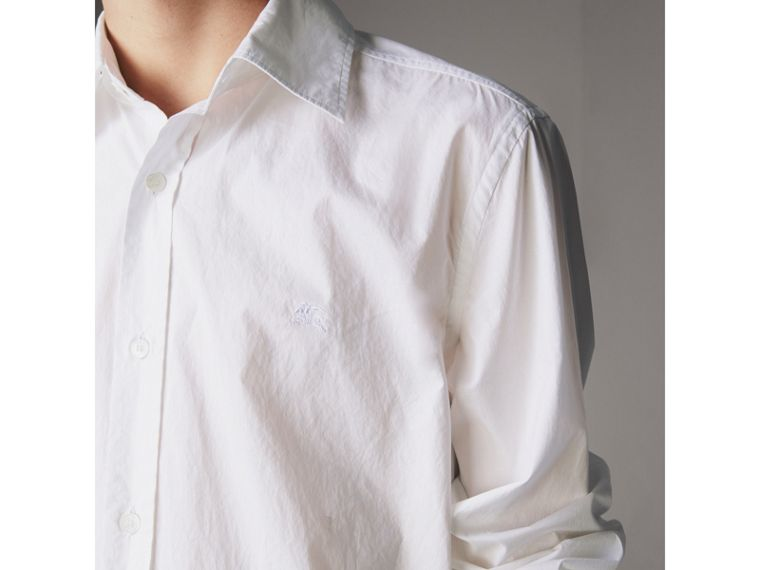 Japanese Cotton Poplin Shirt in White - Men | Burberry Canada - cell image 1