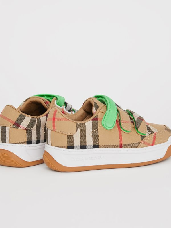 Vintage Check Sneakers in Antique Yellow/neon Green - Children | Burberry - cell image 2