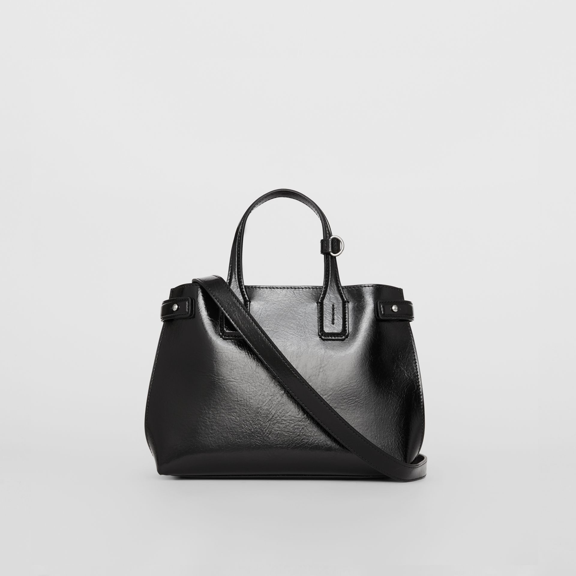 The Small Soft Leather Banner in Black - Women | Burberry - gallery image 7