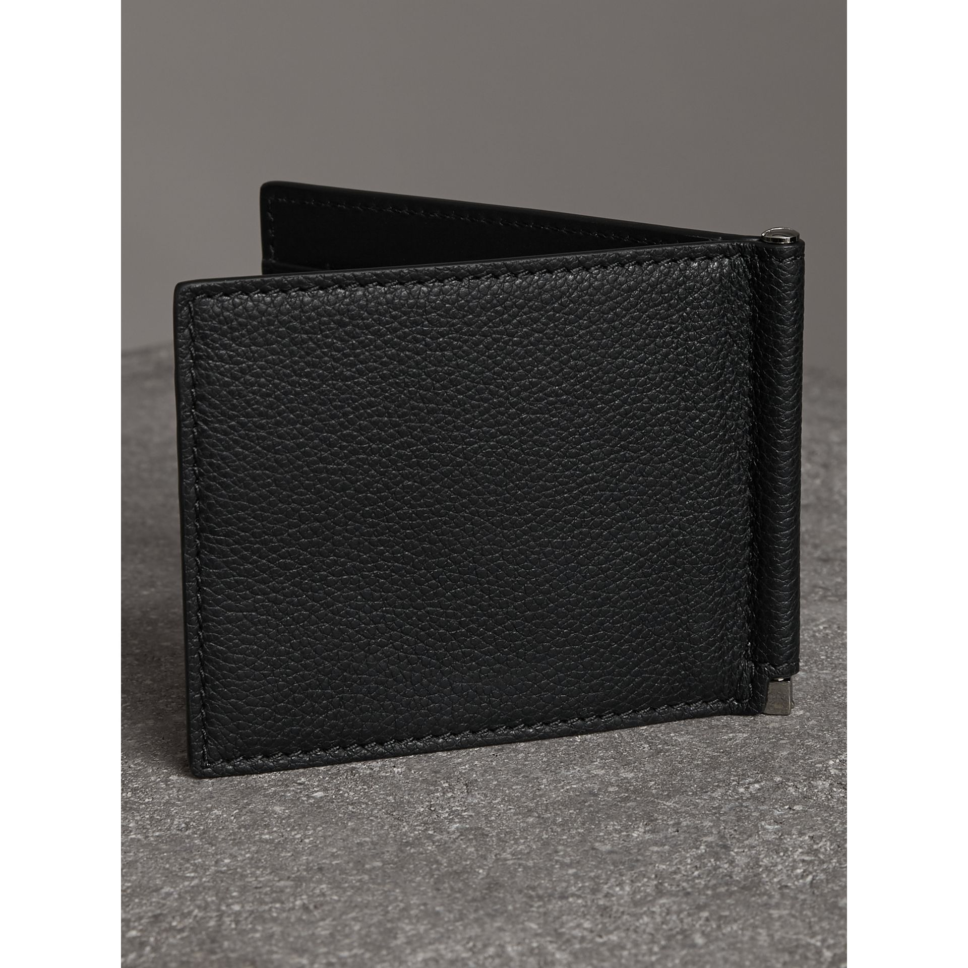 Grainy Leather Money Clip Card Wallet in Black - Men | Burberry Australia - gallery image 2