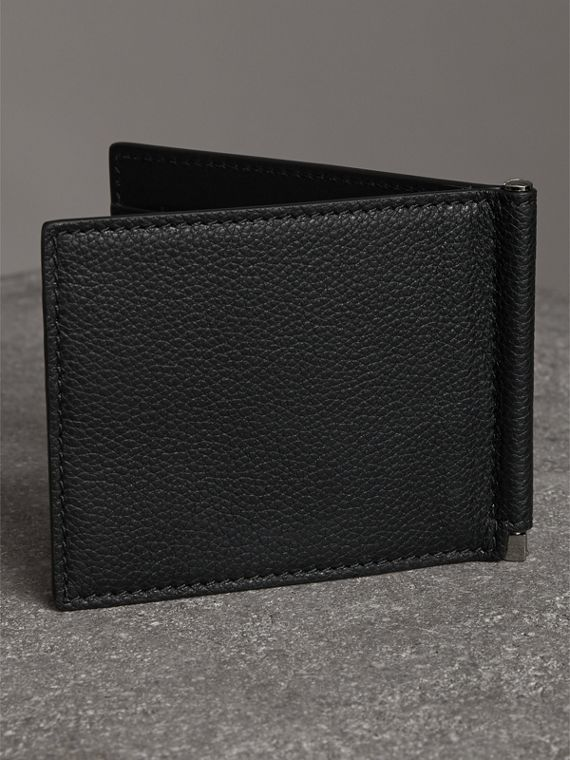 Grainy Leather Money Clip Card Wallet in Black - Men | Burberry Hong Kong - cell image 2