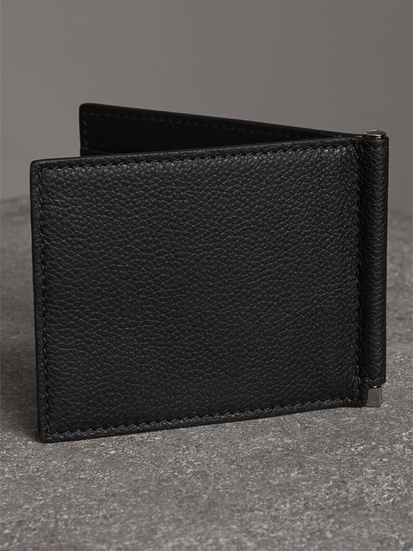 Grainy Leather Money Clip Card Wallet in Black - Men | Burberry Australia - cell image 2