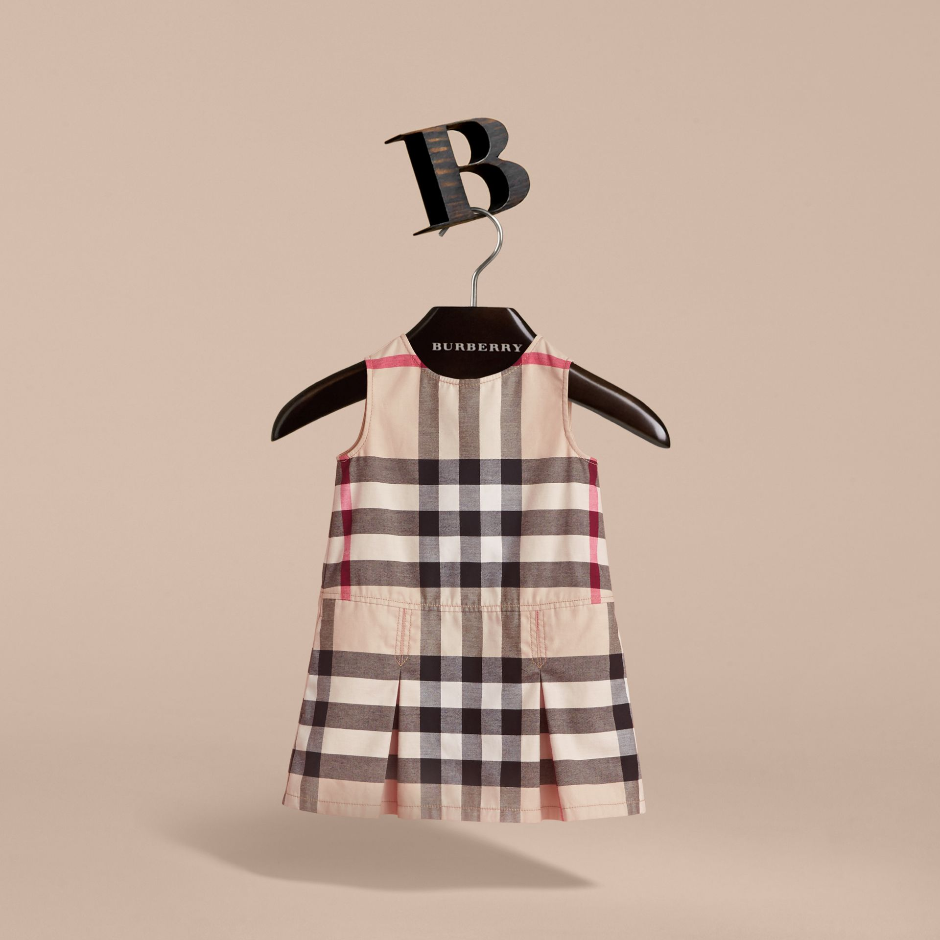 Pleated Check Washed Cotton A-line Dress in Stone - Girl | Burberry Hong Kong - gallery image 3