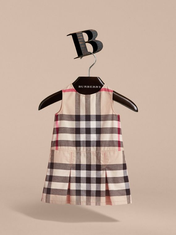 Pleated Check Washed Cotton A-line Dress in Stone - Girl | Burberry - cell image 2