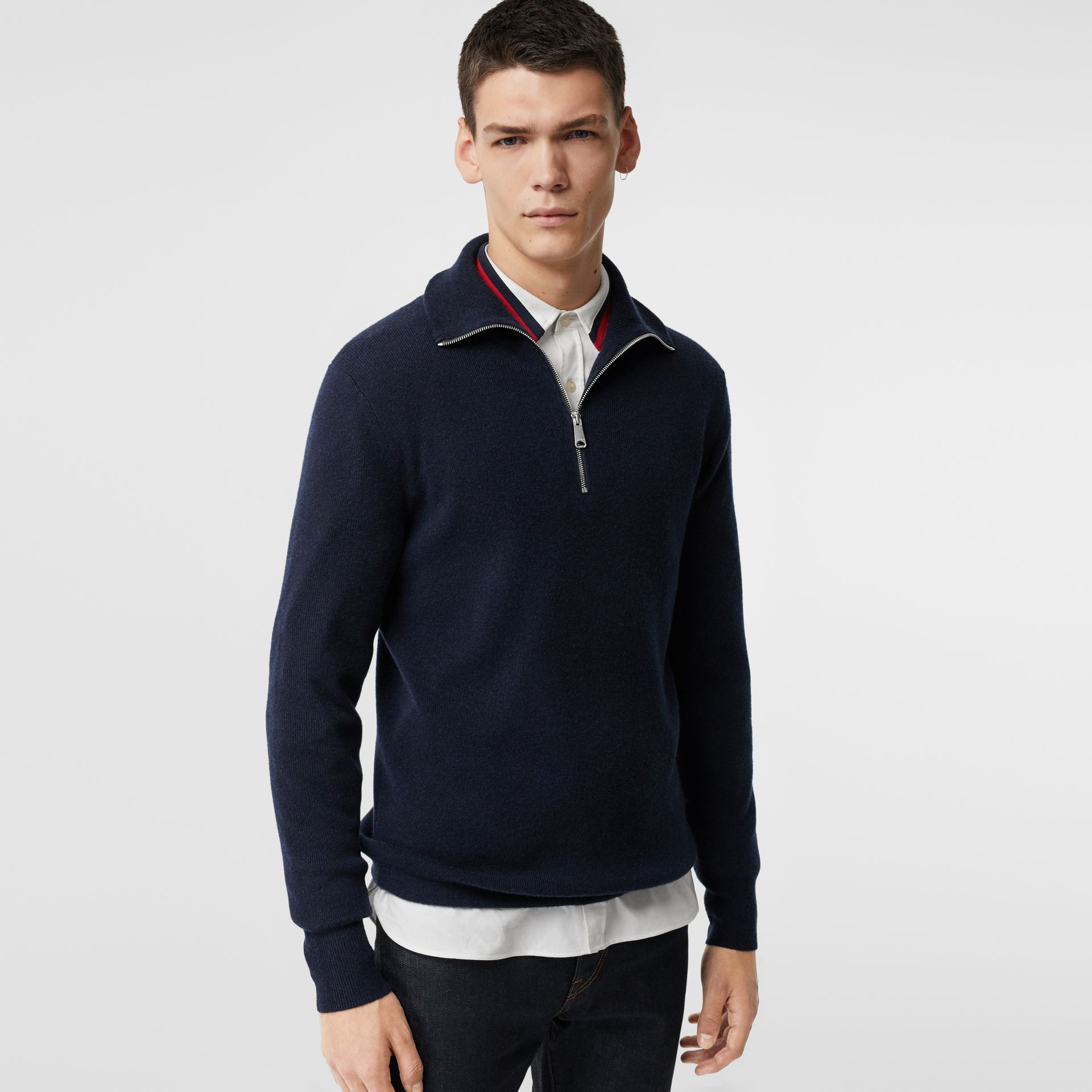 Rib Knit Cashmere Half-zip Sweater in Navy - Men | Burberry Singapore - gallery image 0