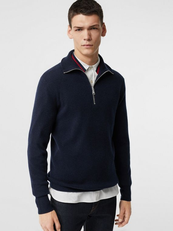 Rib Knit Cashmere Half-zip Sweater in Navy