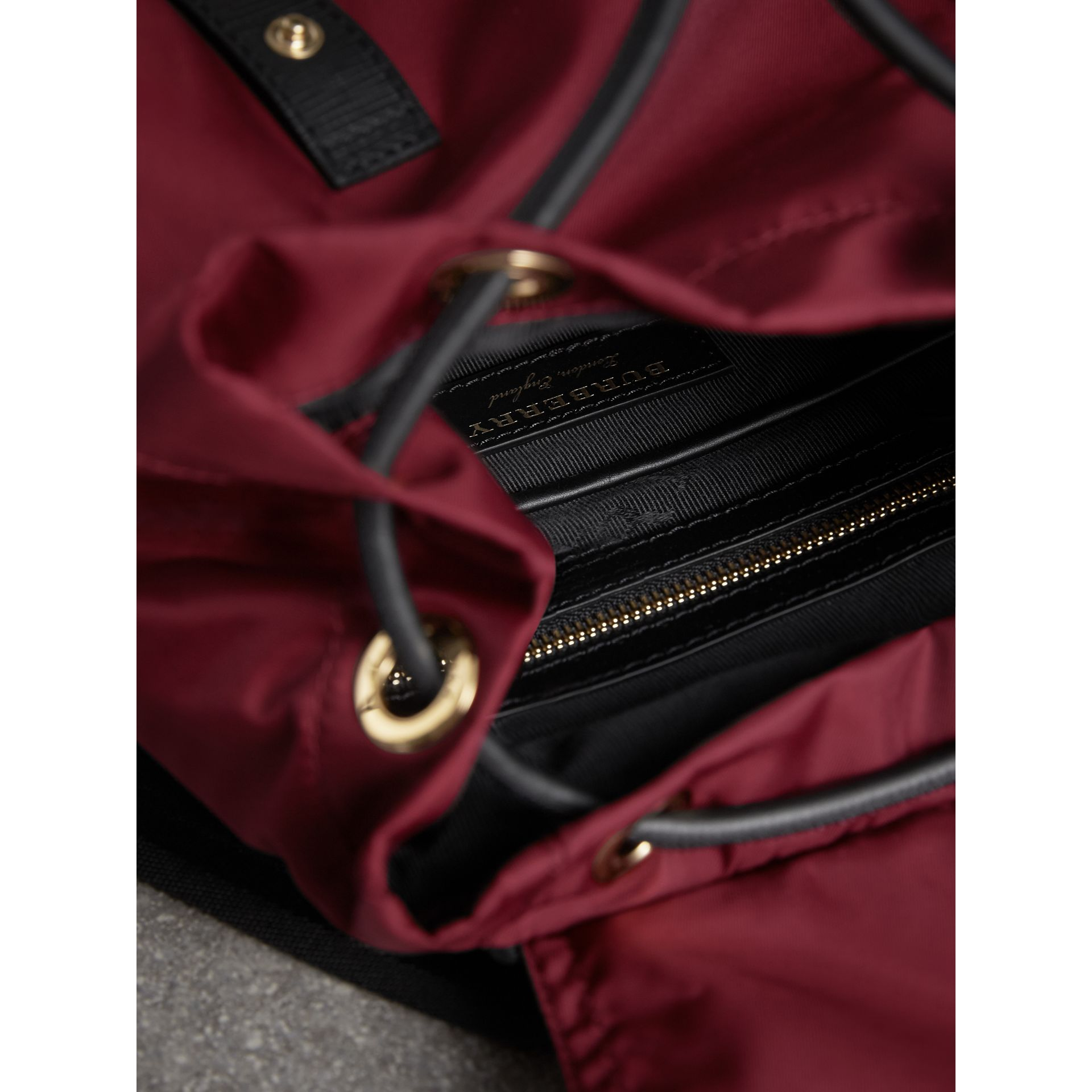 The Medium Rucksack in Technical Nylon and Leather in Burgundy Red - gallery image 6