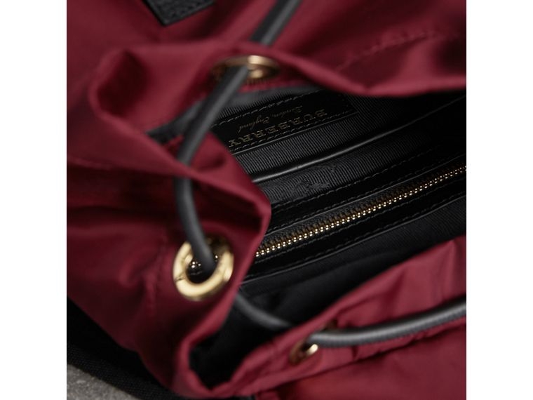 The Medium Rucksack in Technical Nylon and Leather in Burgundy Red - Women | Burberry Singapore - cell image 4