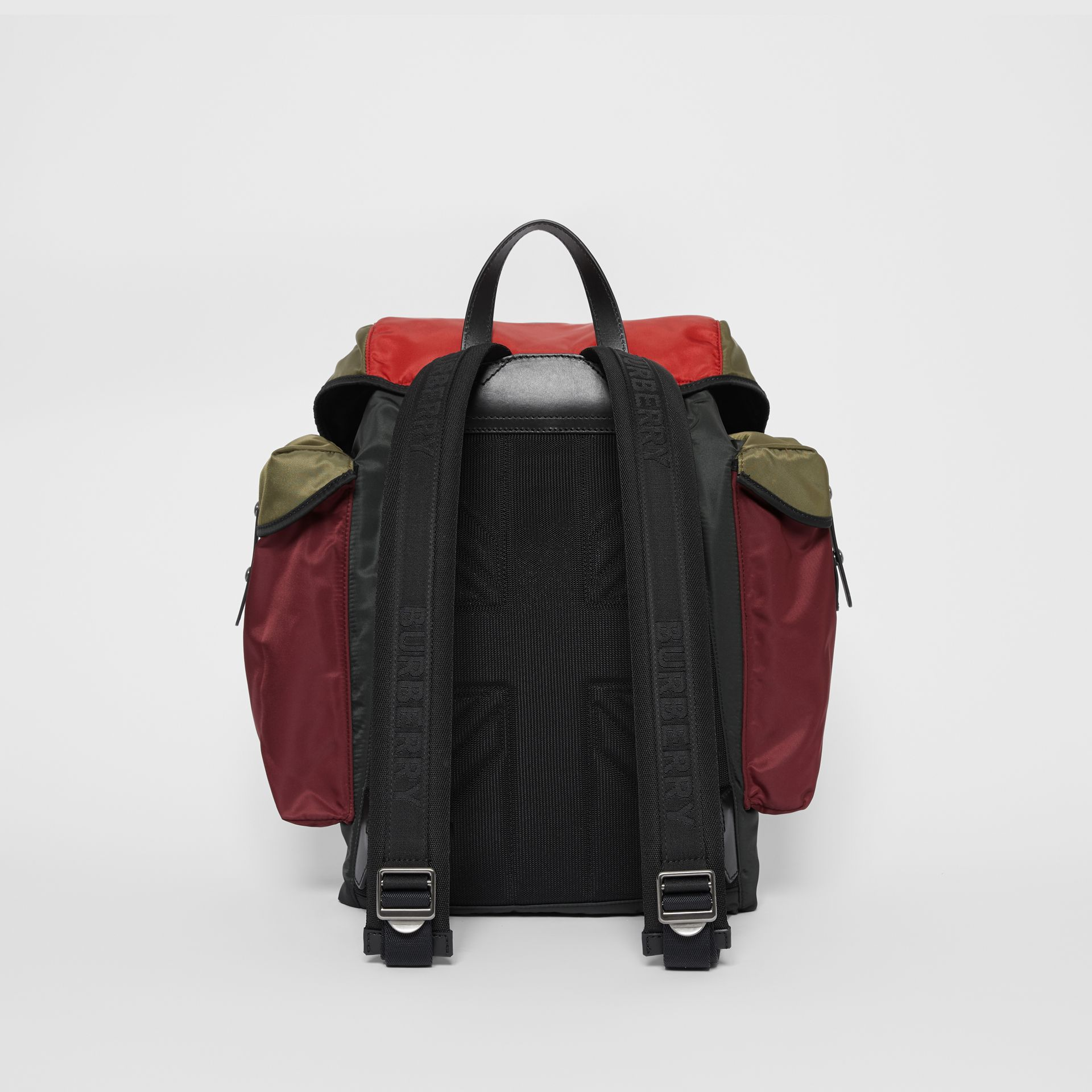 Large Leather Trim Colour Block Nylon Backpack in Multicolour | Burberry United Kingdom - gallery image 5