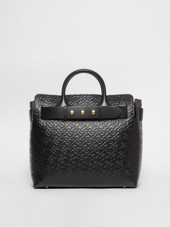 Sac The Belt moyen en cuir Monogram à triple pression (Noir)