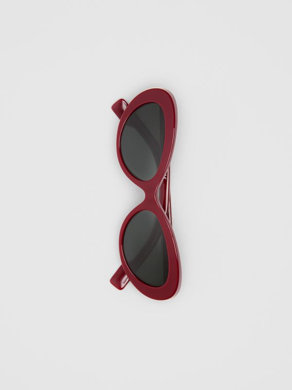 Cat-eye Frame Sunglasses in Burgundy - Women | Burberry - cell image 3