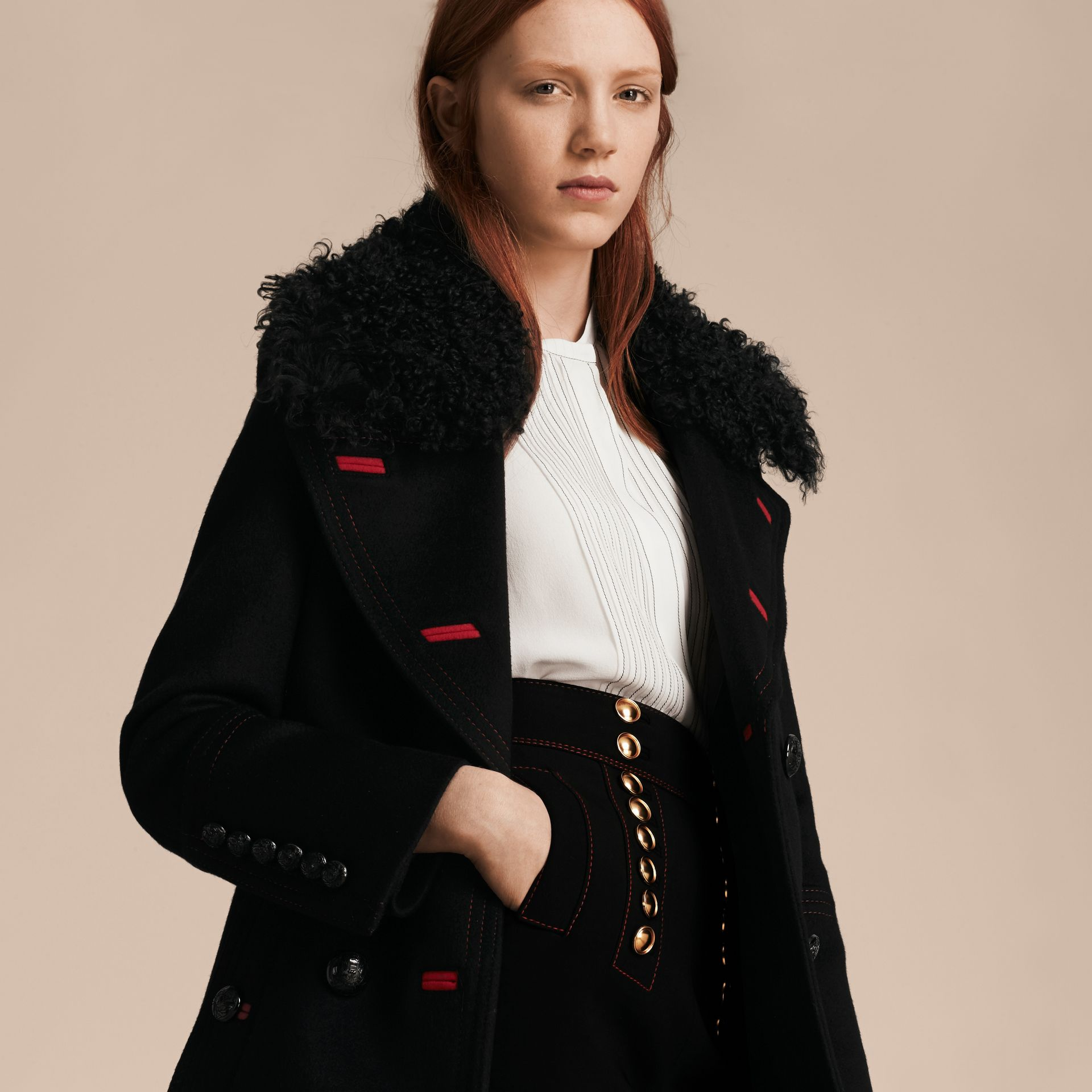 Black Shearling Collar Wool Pea Coat - gallery image 5
