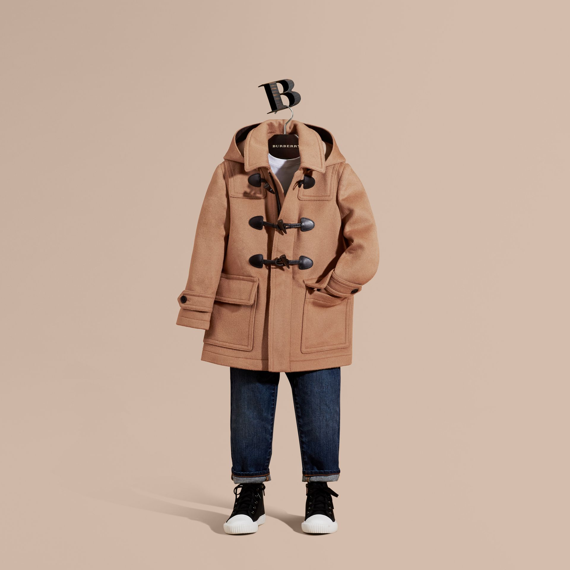 Wool Duffle Coat with Check-lined Hood New Camel - gallery image 1