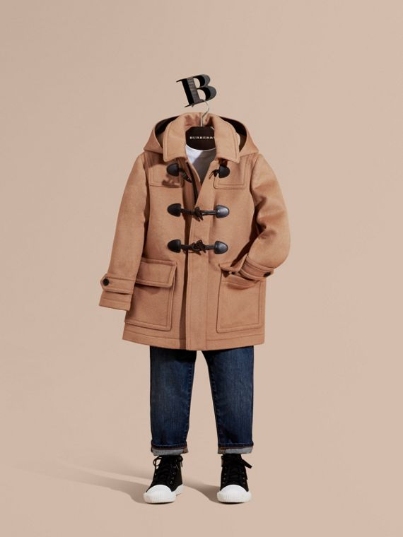 Wool Duffle Coat with Check-lined Hood New Camel