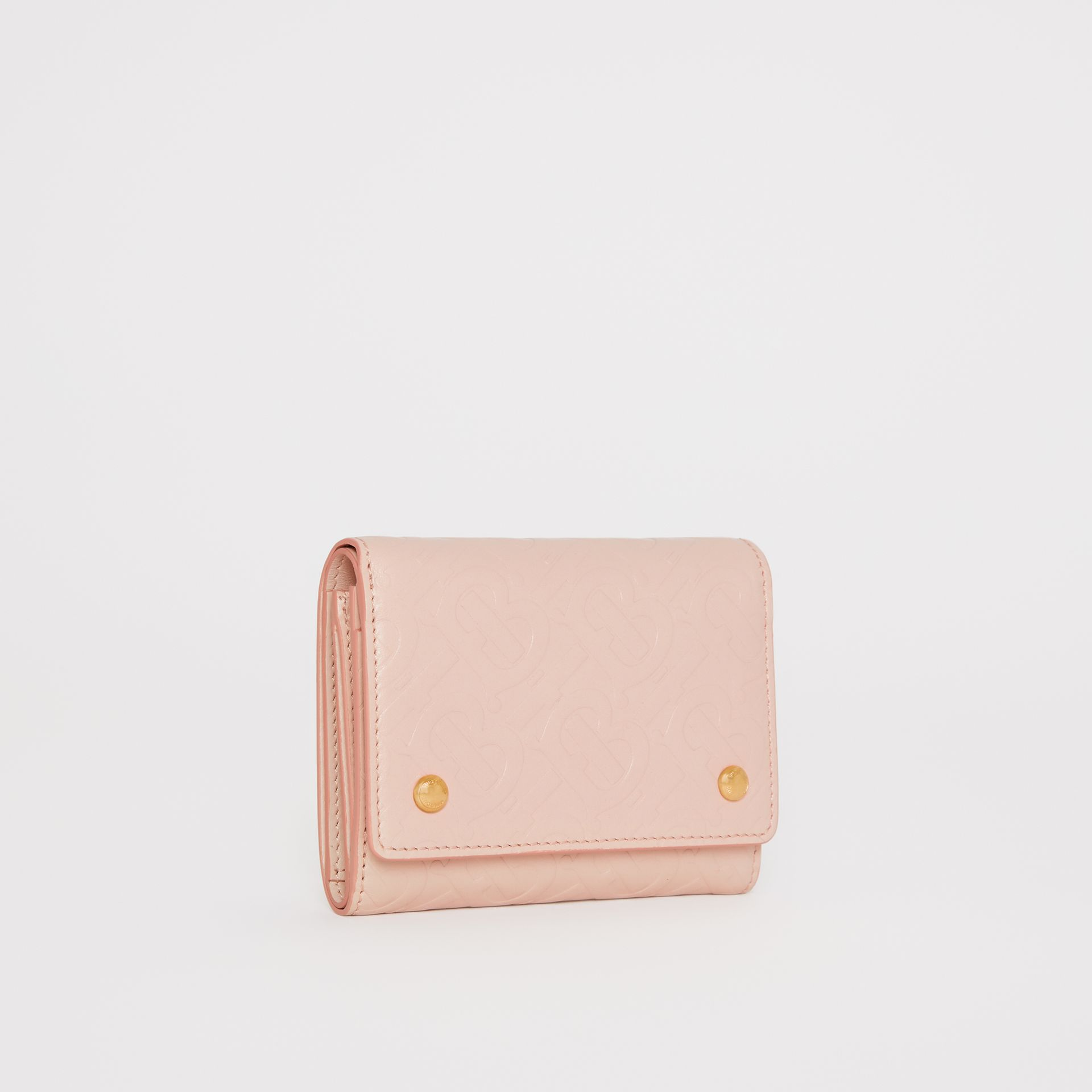 Small Monogram Leather Folding Wallet in Rose Beige | Burberry - gallery image 3