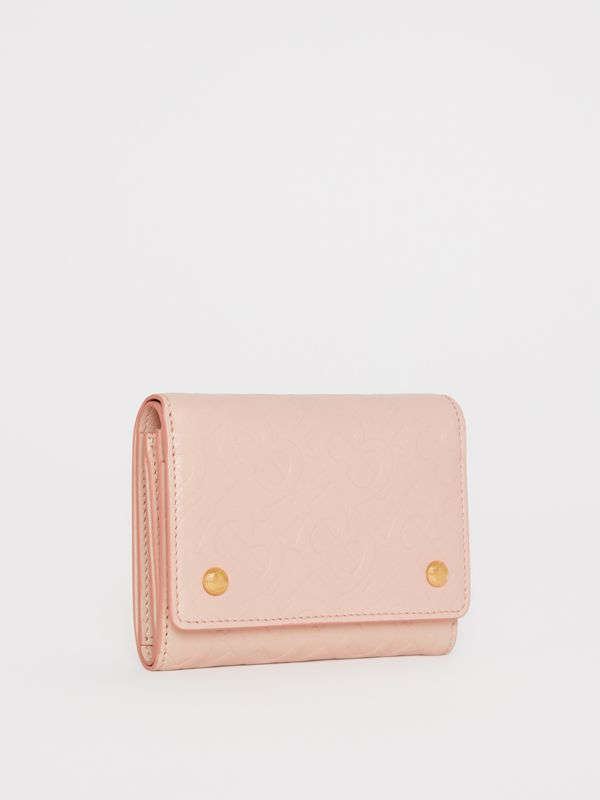 Small Monogram Leather Folding Wallet in Rose Beige | Burberry Australia - cell image 3