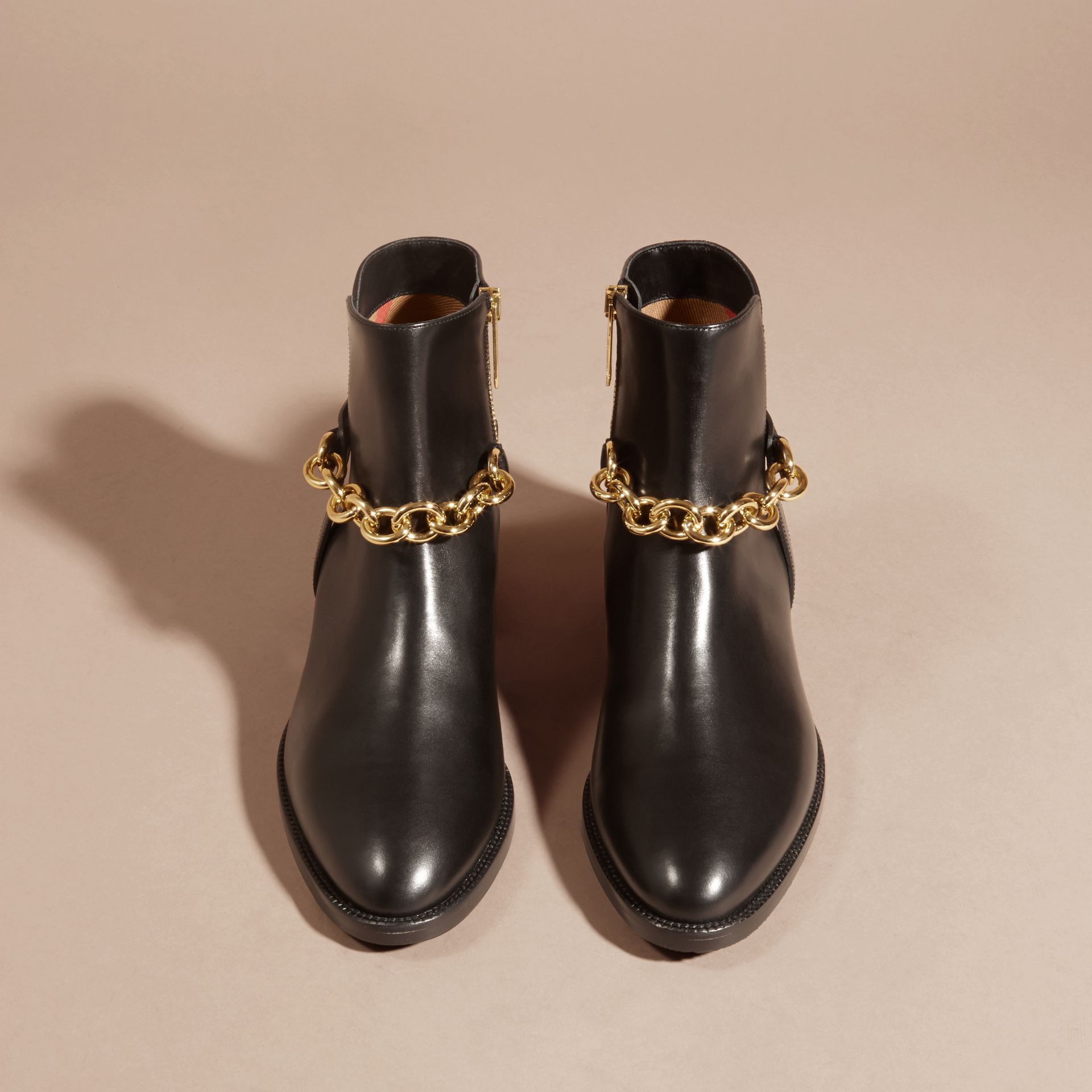 Black Chain Detail Leather Ankle Boots - gallery image 4