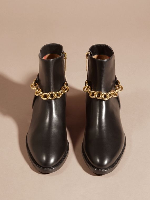 Black Chain Detail Leather Ankle Boots - cell image 3