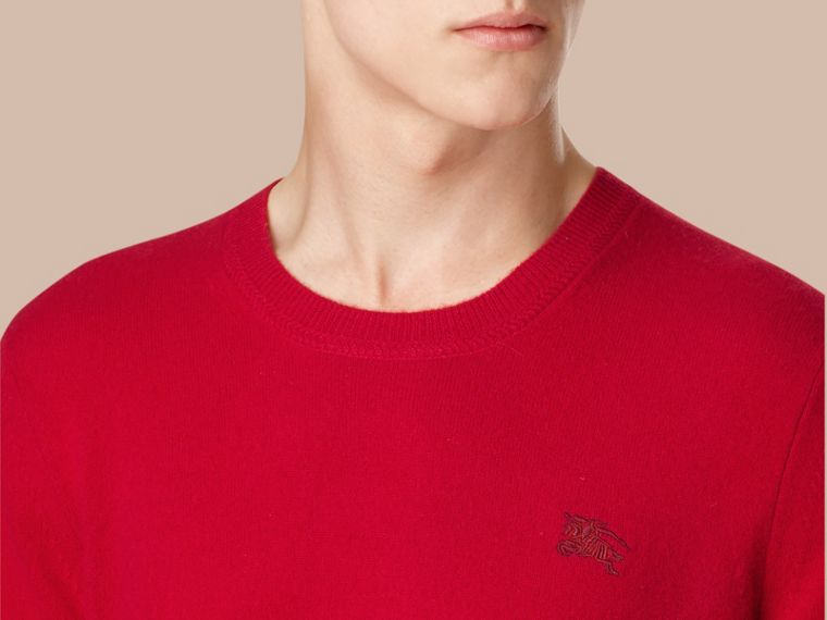 Crew Neck Cashmere Sweater Military Red - cell image 1