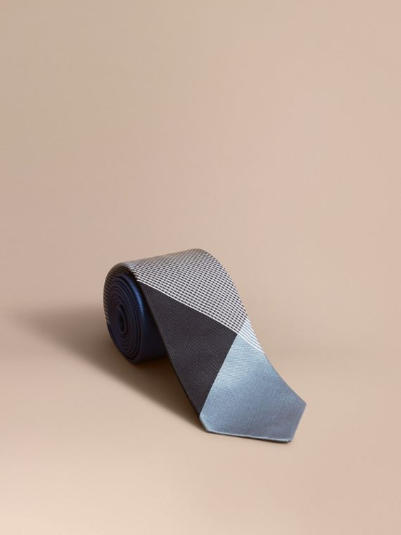 Modern Cut Gingham Check Silk Twill Jacquard Tie