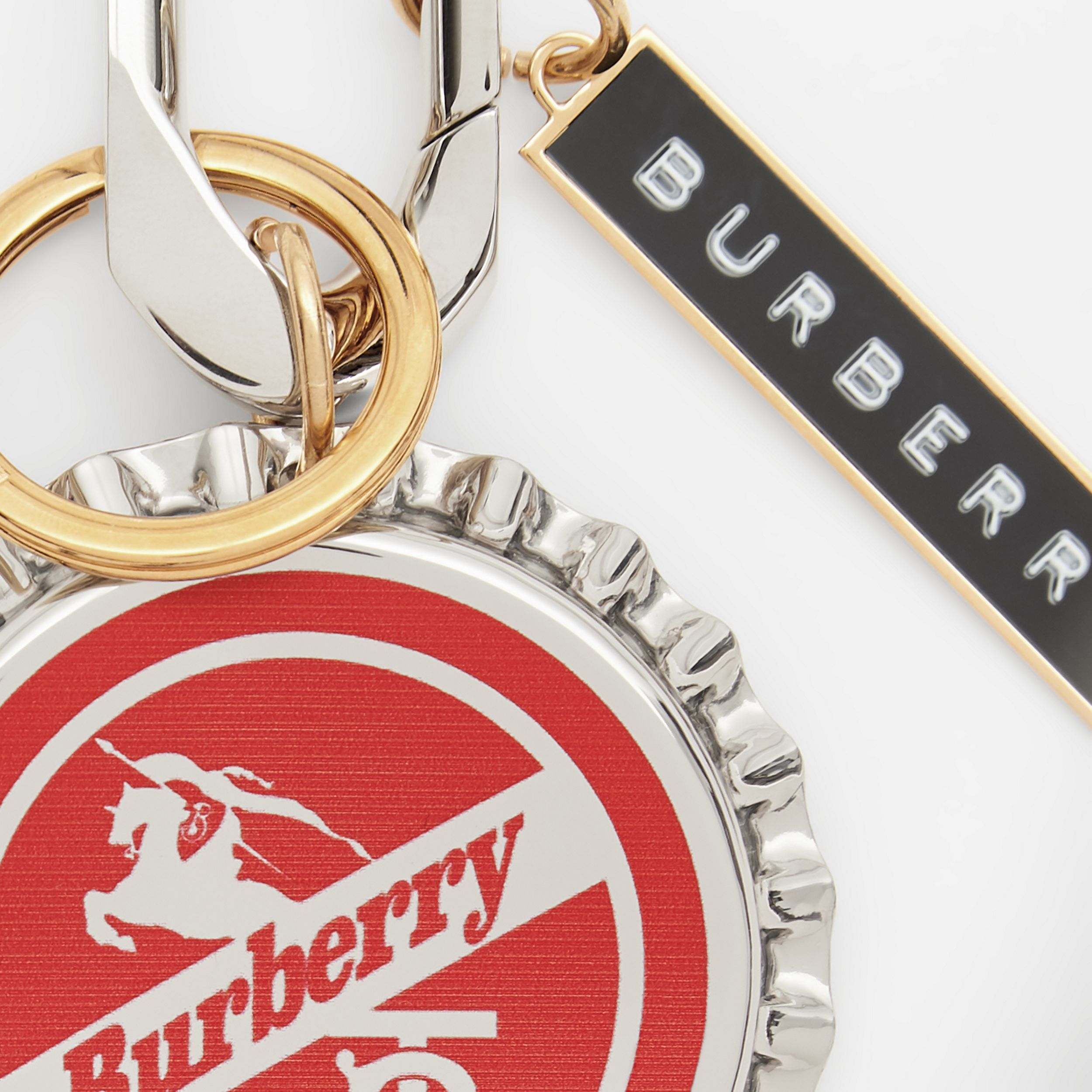 Gold and Palladium-plated Bottle Cap Charm in Red | Burberry - 2