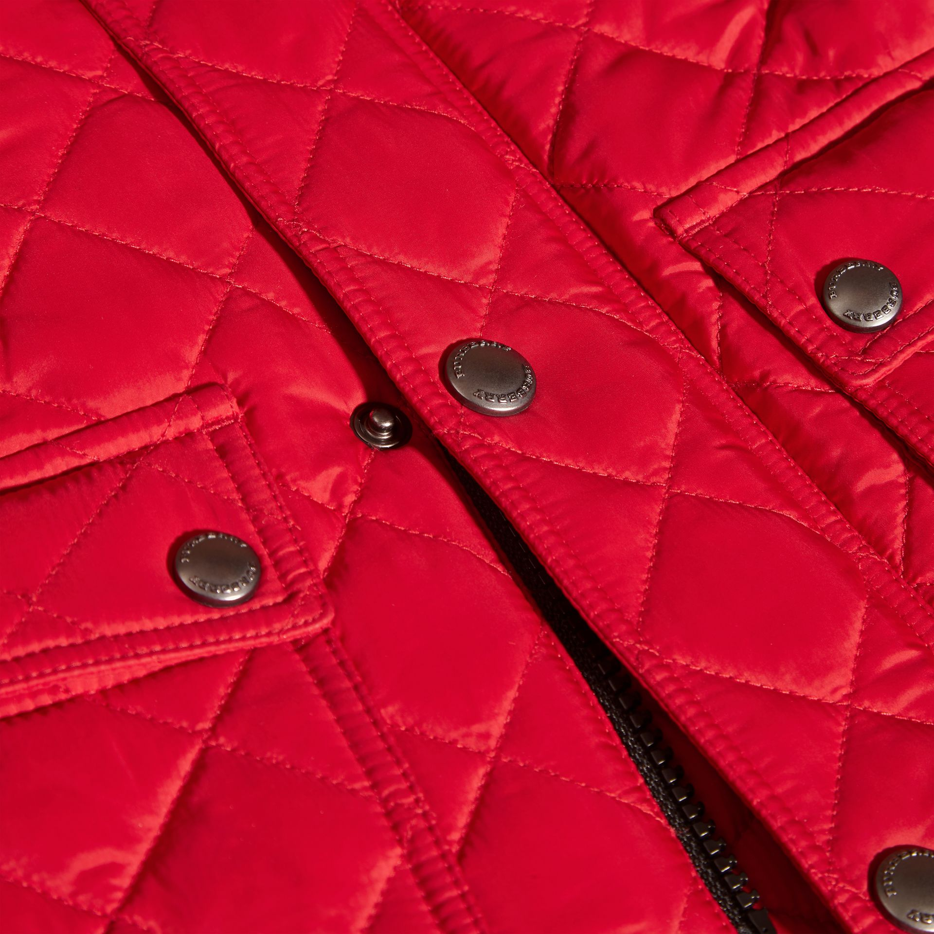 Detachable Hood Lightweight Quilted Jacket in Bright Cherry Red | Burberry - gallery image 1