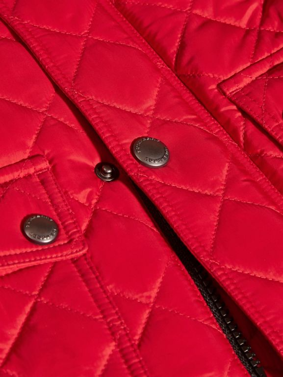 Detachable Hood Lightweight Quilted Jacket in Bright Cherry Red | Burberry - cell image 1