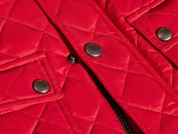 Lightweight Quilted Jacket with Detachable Hood Bright Cherry Red - cell image 1