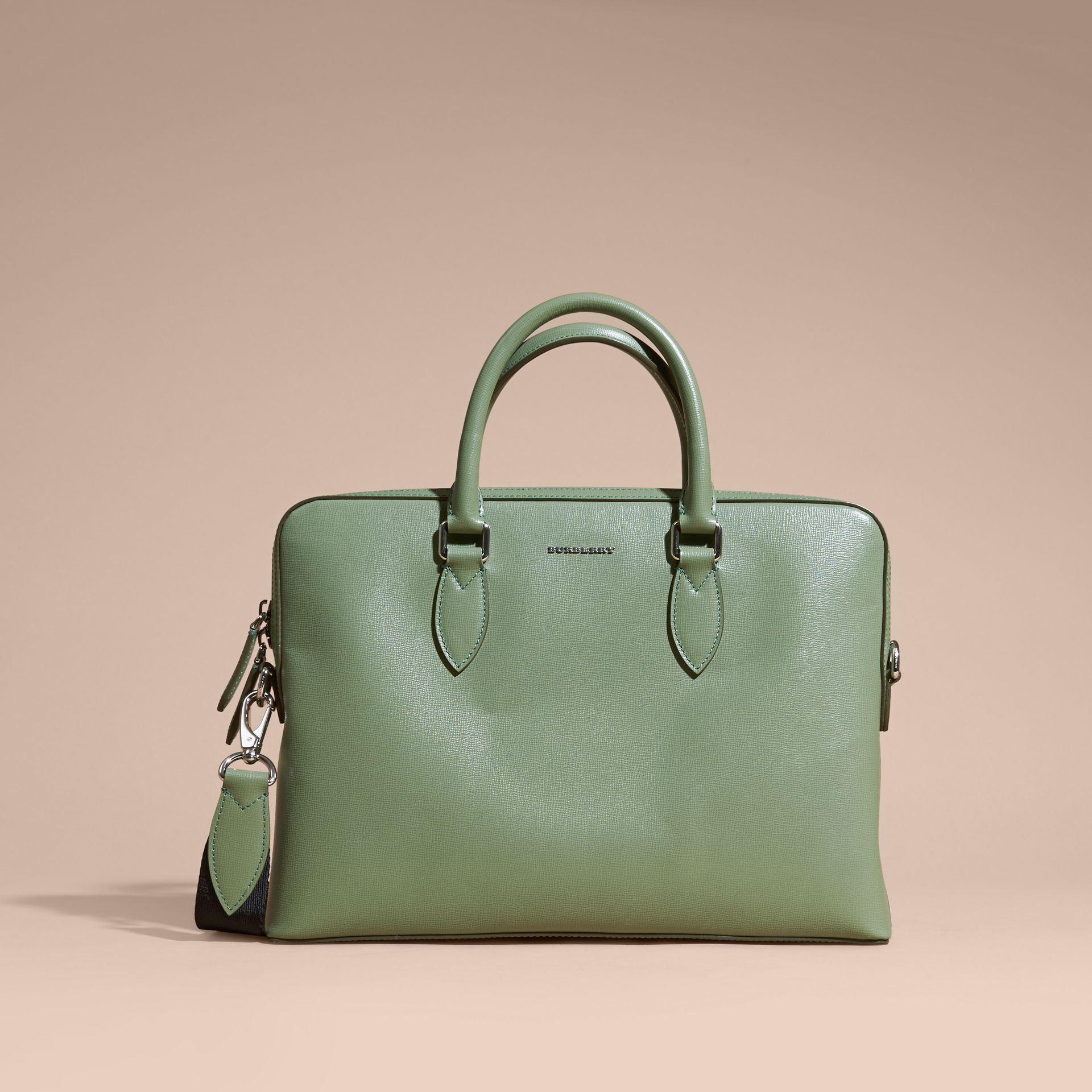 The Slim Barrow in London Leather in Antique Green - Men | Burberry - gallery image 9