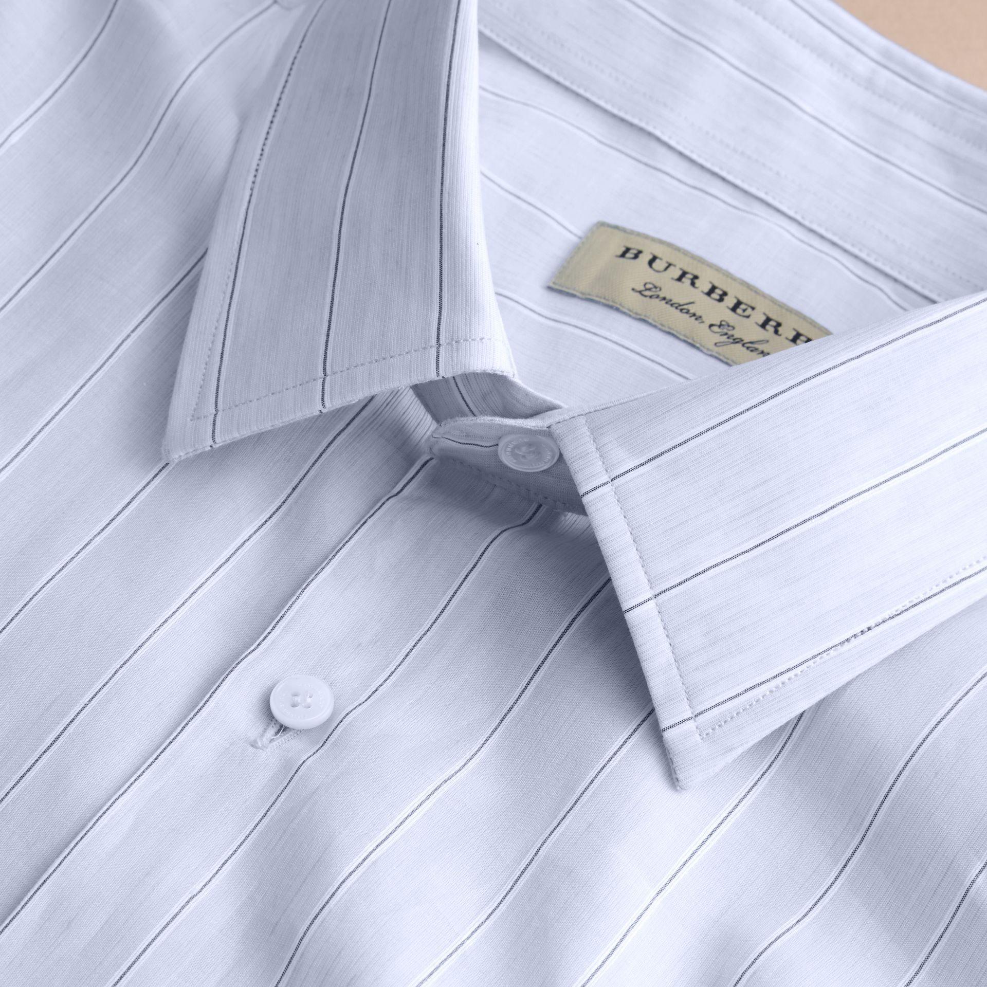 Modern Fit Cotton Linen Striped Shirt in Pale Opal Blue - Men | Burberry - gallery image 1