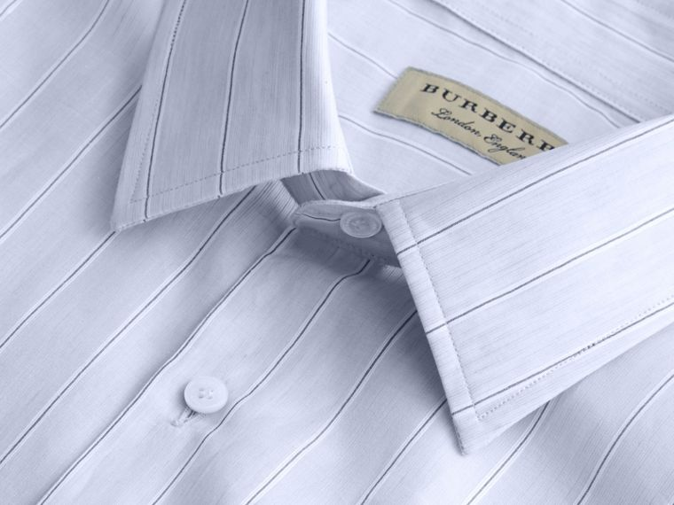 Modern Fit Cotton Linen Striped Shirt in Pale Opal Blue - Men | Burberry - cell image 1