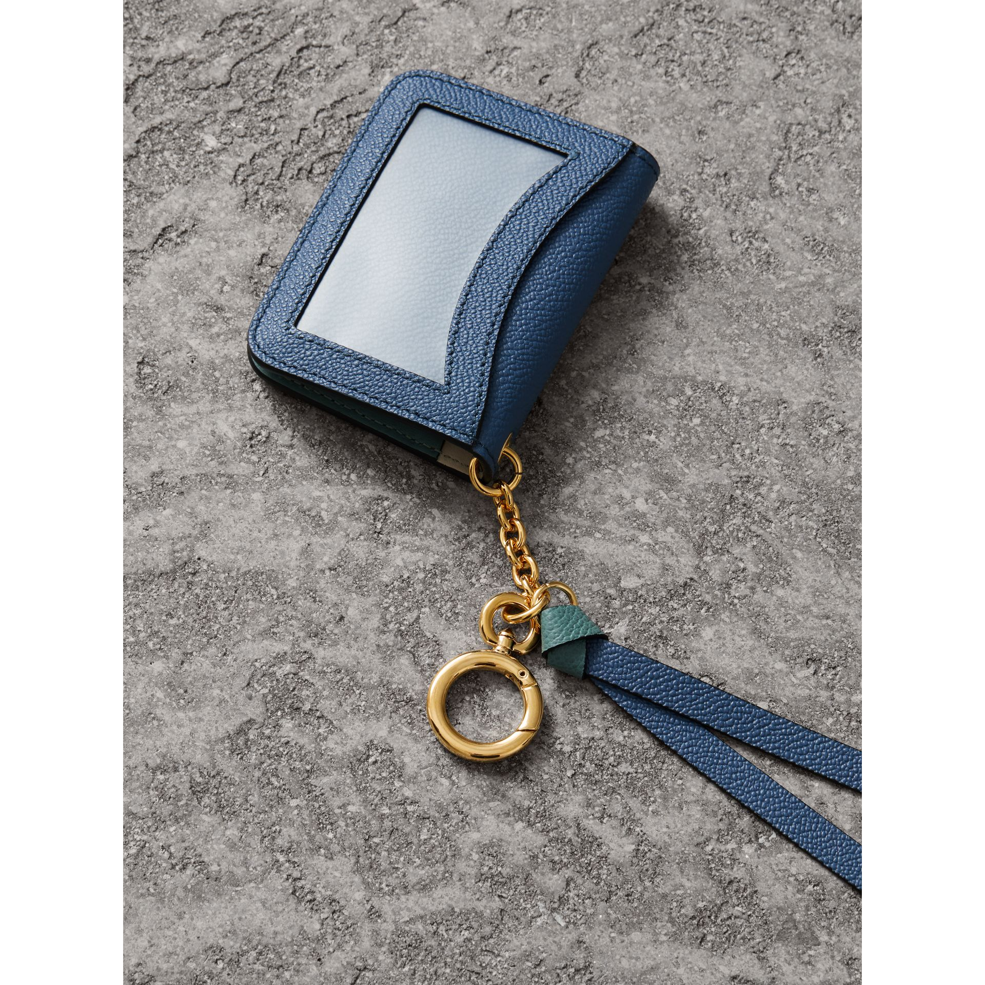Leather and Haymarket Check ID Card Case Charm in Steel Blue/multi - Women | Burberry - gallery image 2