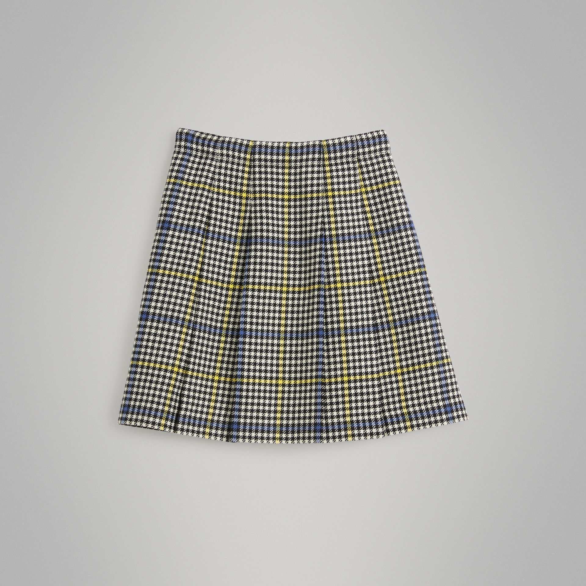 Fringe Detail Houndstooth Check Wool Kilt in Parchment | Burberry - gallery image 3