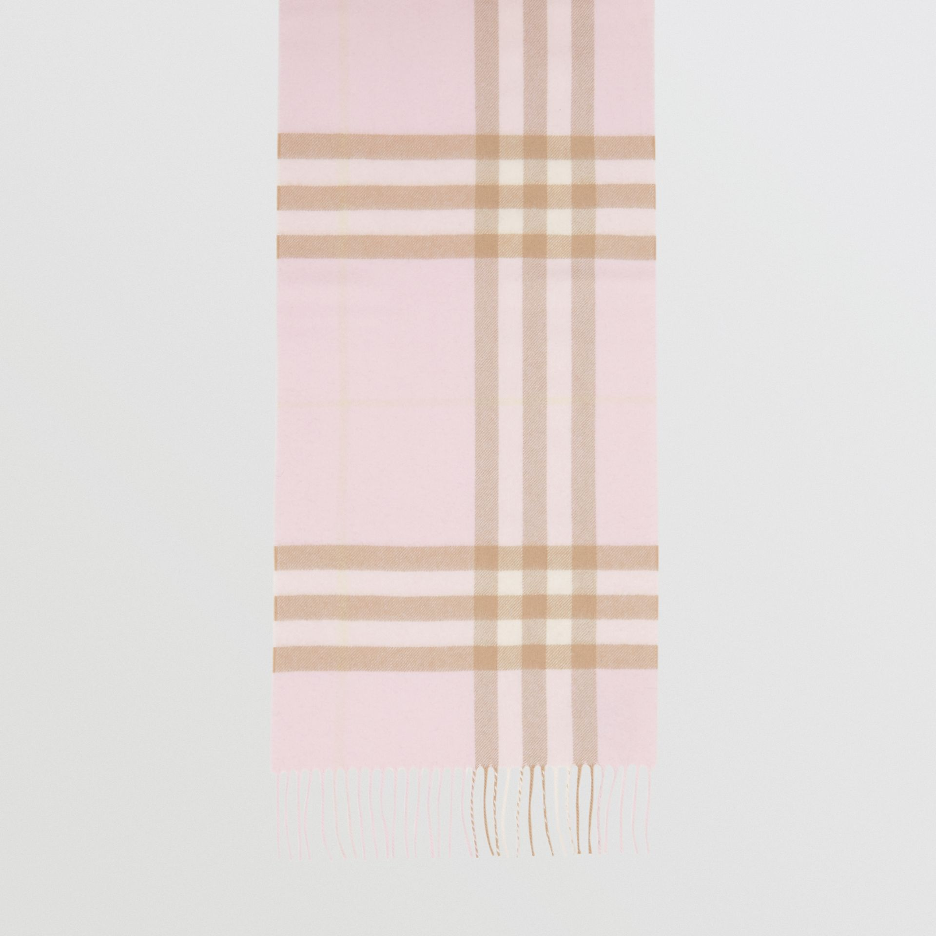 The Classic Check Cashmere Scarf in Alabaster | Burberry United Kingdom - gallery image 4