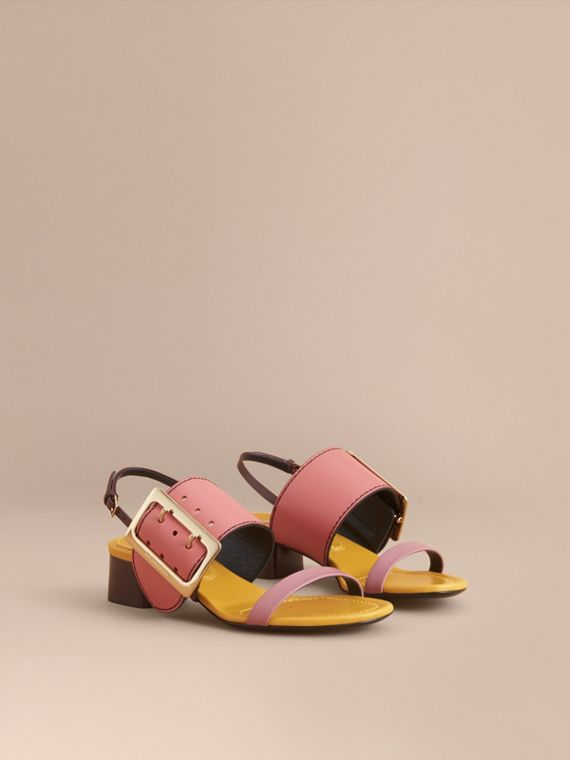 Colour Block Leather Sandals with Buckle Detail