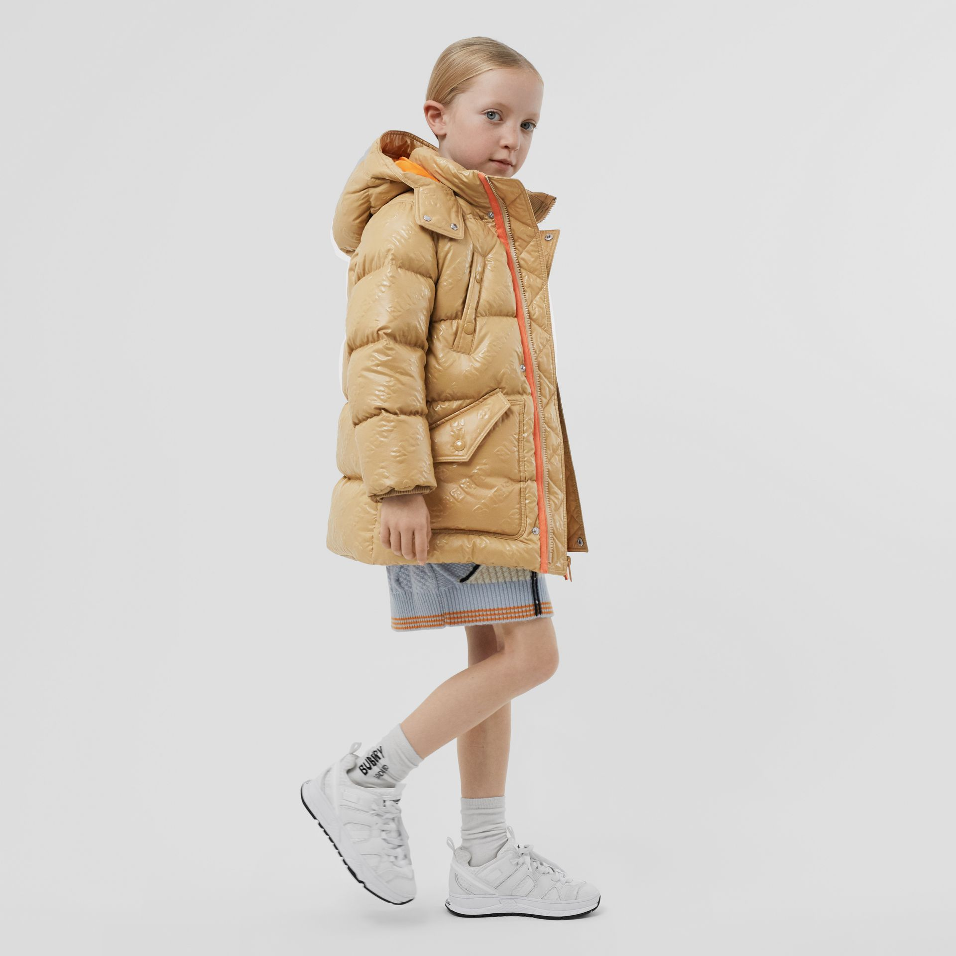 Detachable Hood Embossed Logo Puffer Coat in Honey | Burberry Hong Kong S.A.R - gallery image 2
