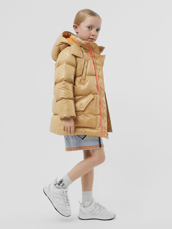 Detachable Hood Embossed Logo Puffer Coat in Honey | Burberry Hong Kong S.A.R - cell image 2