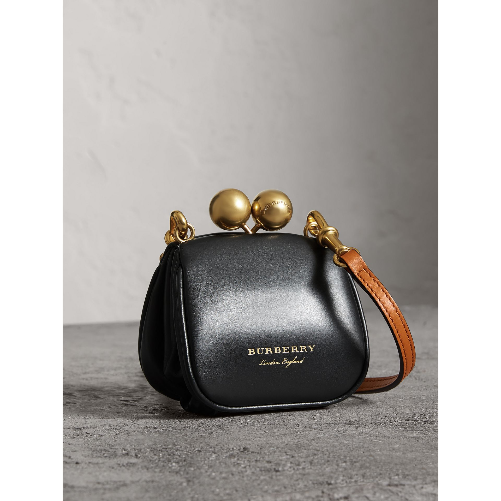 Mini Two-tone Leather Metal Frame Clutch Bag in Black - Women | Burberry - gallery image 4