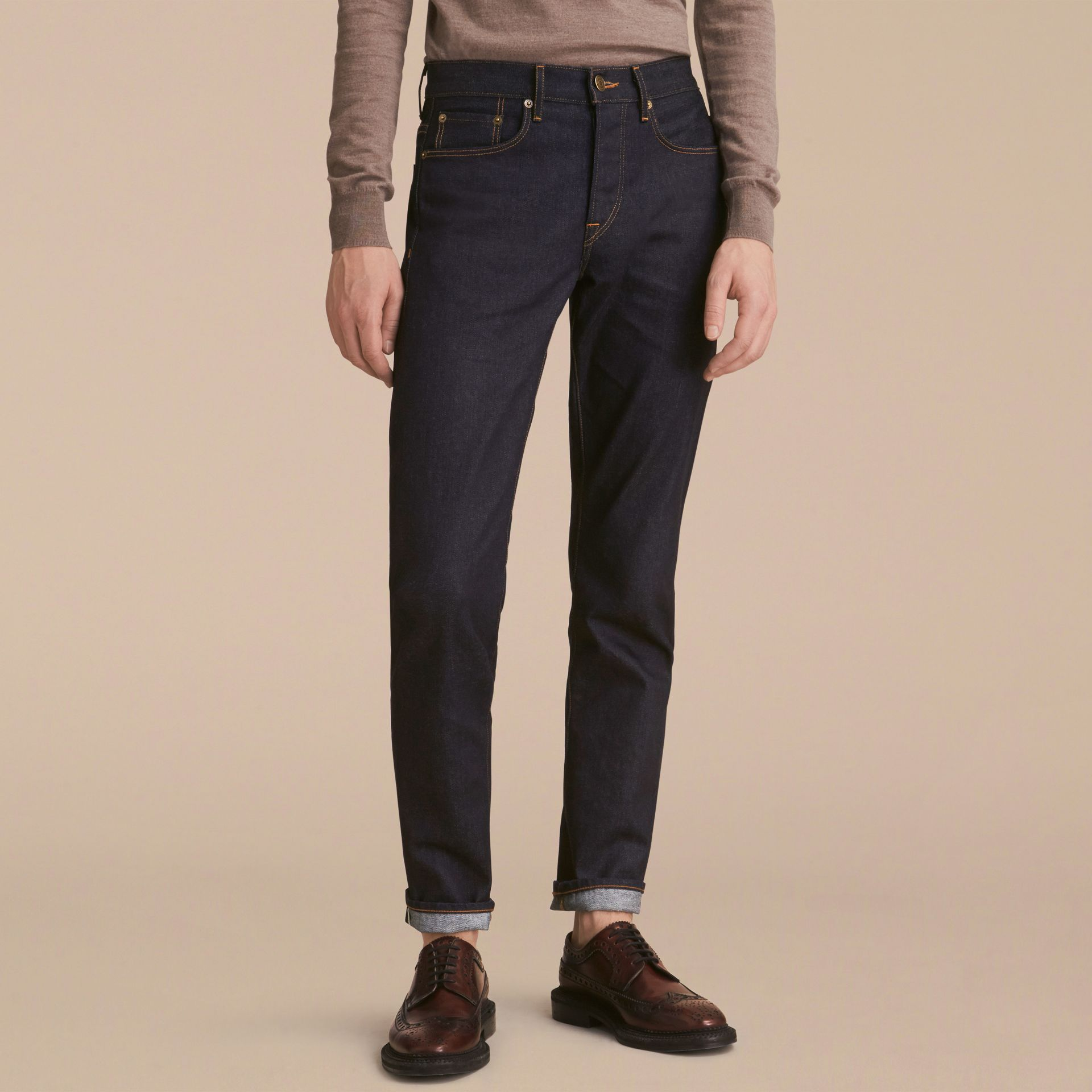 Relaxed Fit Comfort Stretch Indigo Japanese Denim Jeans in Dark - Men | Burberry - gallery image 7