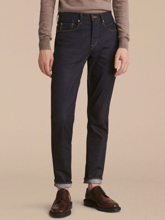 Relaxed Fit Comfort Stretch Indigo Japanese Denim Jeans - Men | Burberry Australia