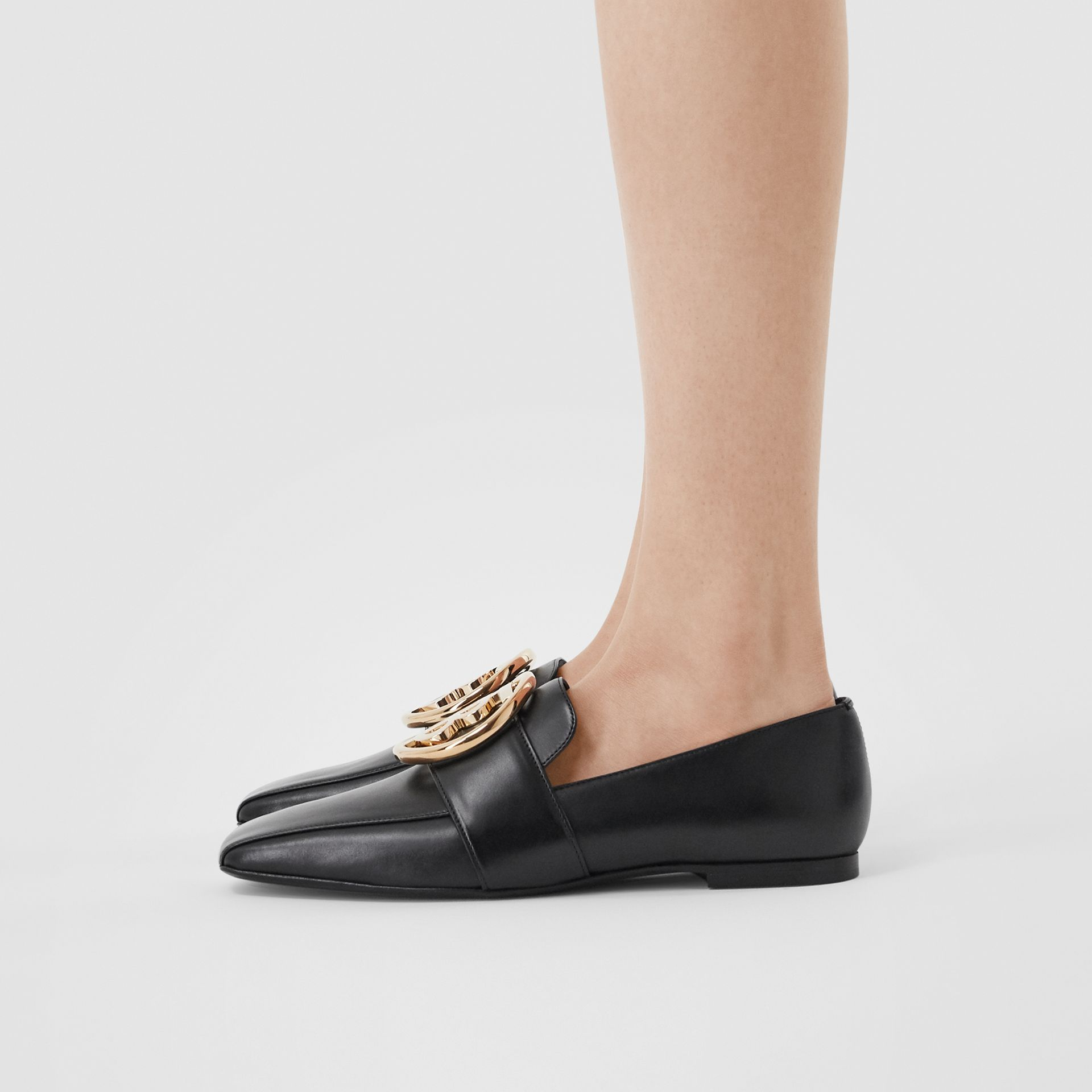 Monogram Motif Leather Loafers in Black - Women | Burberry - gallery image 2
