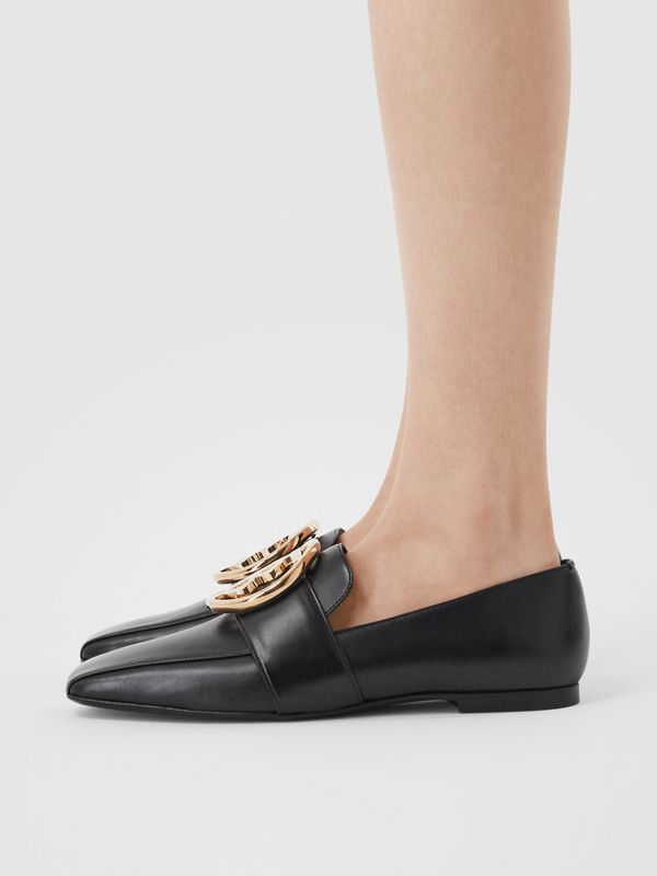 Monogram Motif Leather Loafers in Black - Women | Burberry - cell image 2