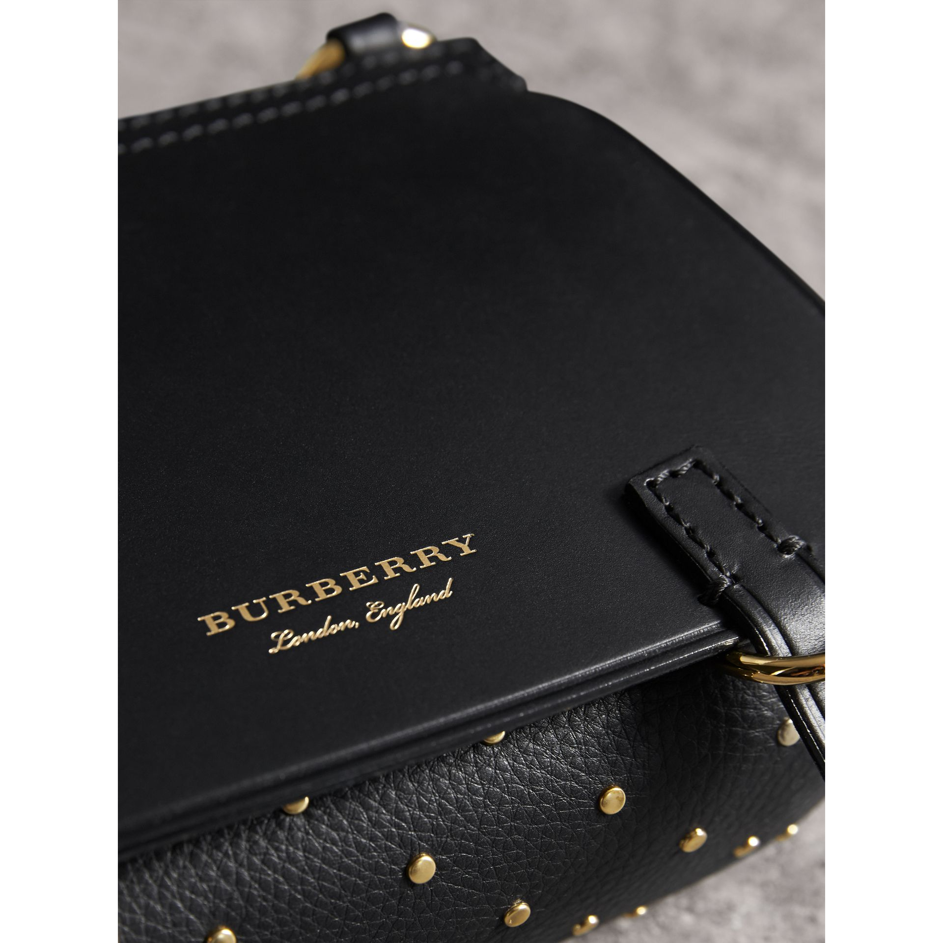 The Baby Bridle Bag in Riveted Leather in Black - Women | Burberry - gallery image 2