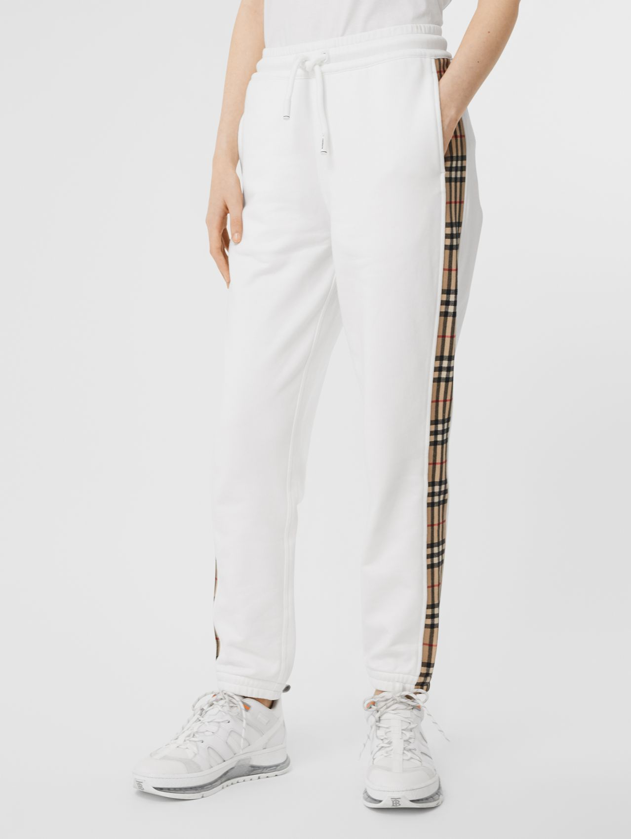 Vintage Check Detail Cotton Jogging Pants in White