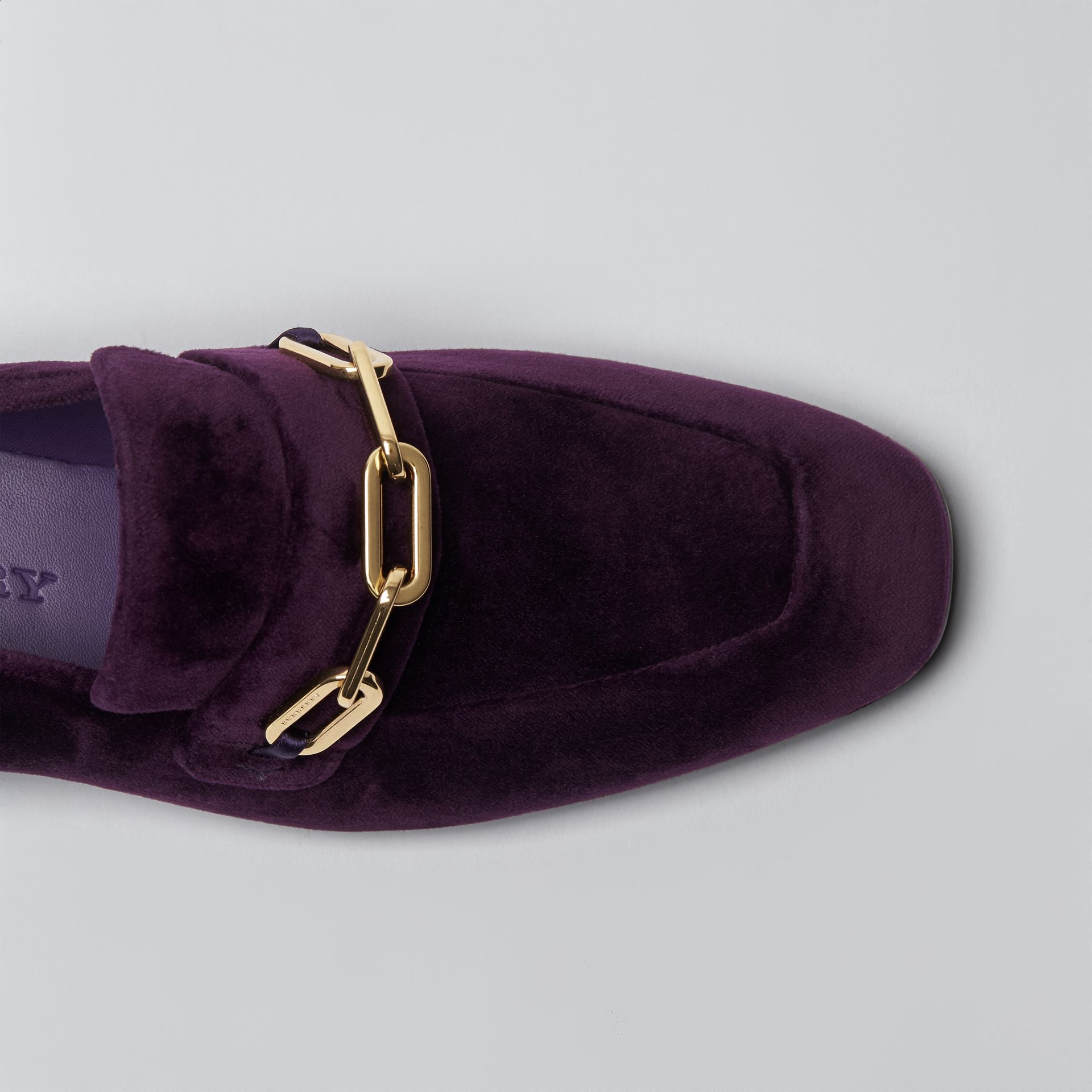 Link Detail Velvet Loafers in Dark Elderberry - Women | Burberry United Kingdom - gallery image 1