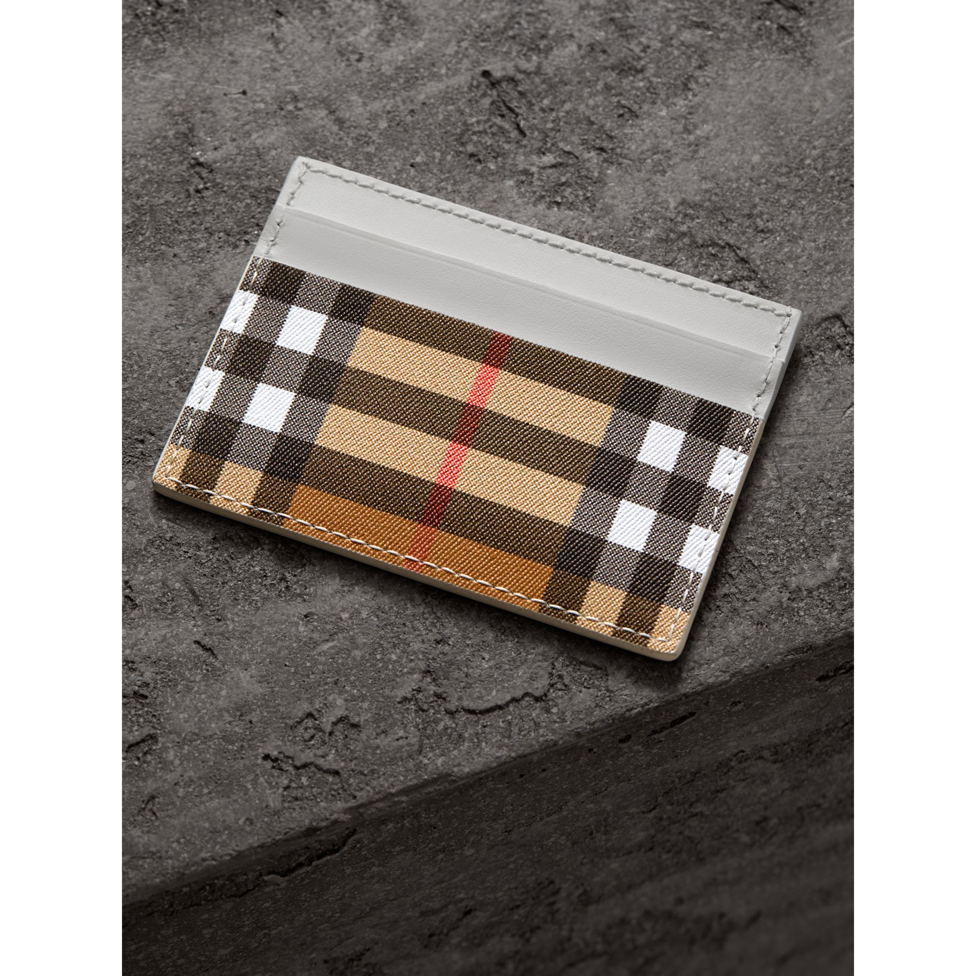 Vintage Check and Leather Card Case in Chalk White | Burberry - gallery image 2
