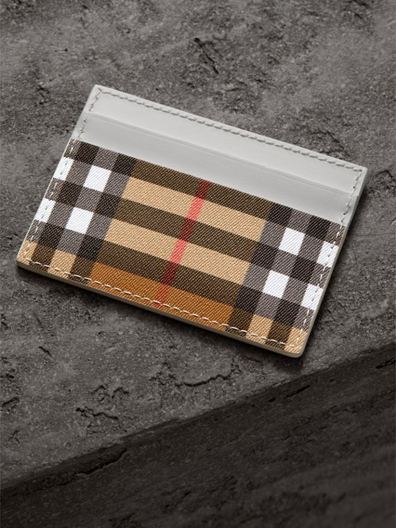 Vintage Check and Leather Card Case in Chalk White | Burberry - cell image 2