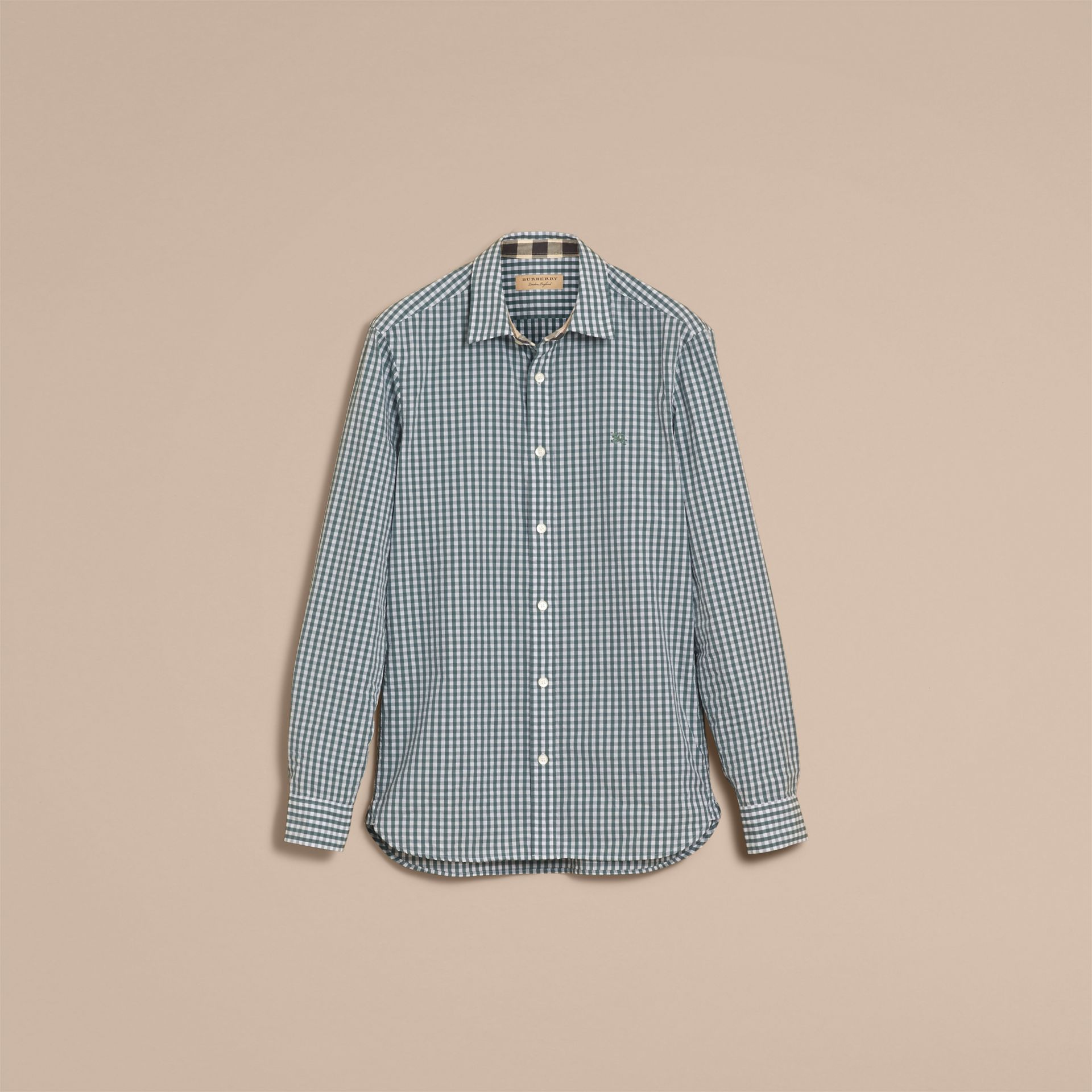 Gingham Cotton Poplin Shirt with Check Detail in Dusty Teal Blue - Men | Burberry - gallery image 4